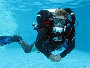 Recreational diver in pool during PADI Discover Rebreather course Phuket