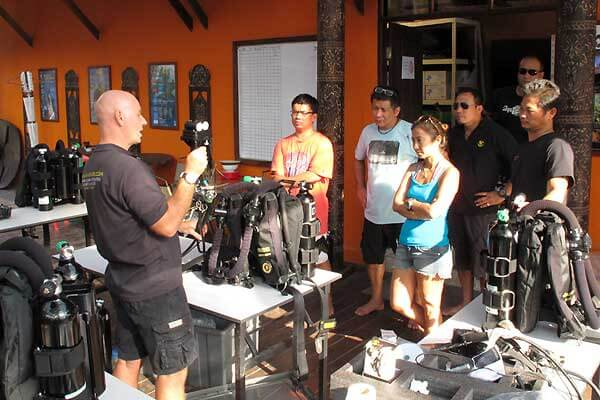 Exam preparation for PADI diving instructor course Thailand