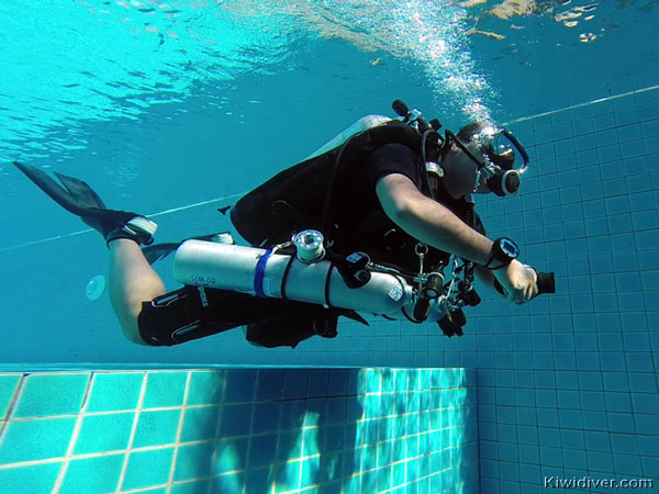 Technical diver in pool during Tec Deep Diver training Thailand